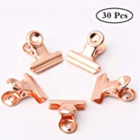 pengxiaomei 30 Pieces Bulldog Clips, Rose Gold Binder Clip Stainless Paper Clamp for Pictures, Photos, Home Office Supplies