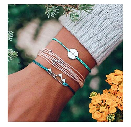 t Mountain Rope Compass Bracelet Set for Women Boho Geometric Adjustable Bangle Set pulseiras Anklets - Mountain ()