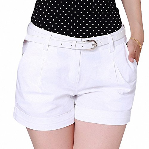 Huainsta Korea Summer Woman Cotton Shorts Size S-3Xl New Fashion Design Lady Casual Short Trousers Solid Color Khaki/White