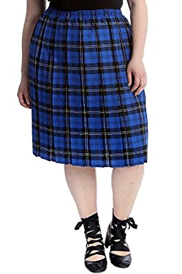 Nouvelle Collection Womens Plus Size Skirt Ladies Tartan Check Print Pleated Style Skater