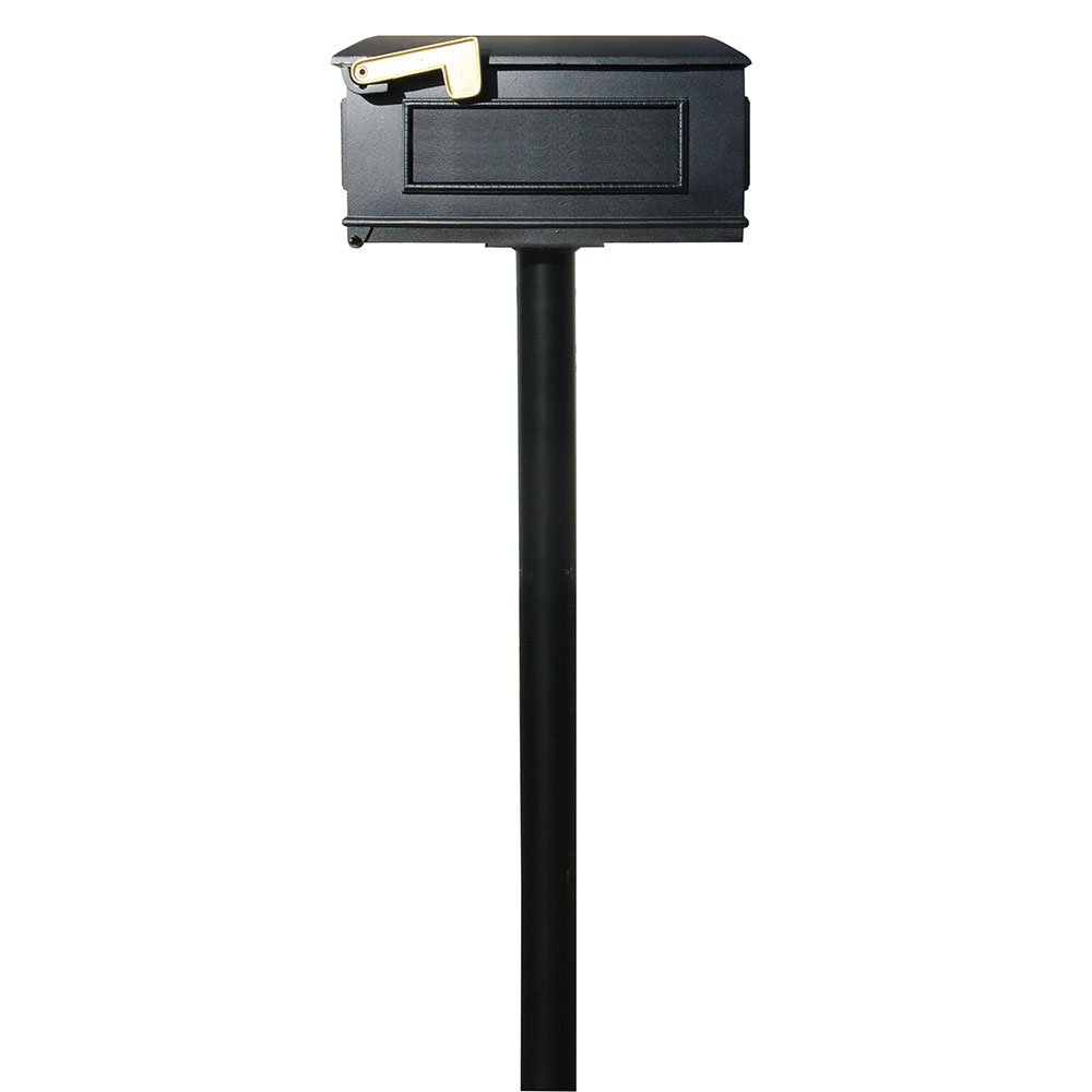 Qualarc HPST1-000-LM The Hanford Cast Aluminum Mailbox and Post,  Black, Ships in 2 boxes
