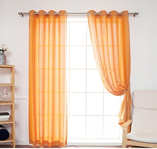 DH 2 Pieces 96 Inch Orange Color Gazebo Curtains Set Pair, Orange Solid Color Pattern Rugby Colors Outside, Outdoor Pergola Drapes Porch Deck Cabana Patio Screen Entrance Sunroom Lanai