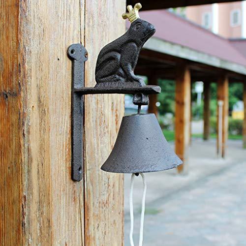 TLMY American Country Garden Frog Prince Doorbell Cast Iron Doorbell Wall Clock Manual Door Front Bell Wind Chime Wall Decoration 19x2.1x18.2cm Retro doorbel