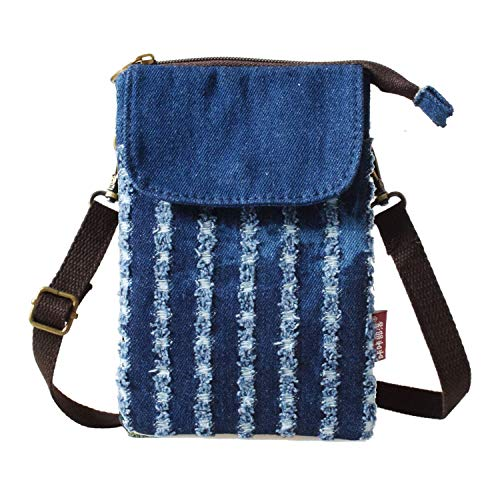 WITERY Women Cute Candy Blue Crossbody Bag/Cellphone Purse/Mini Shoulder Bag/Cellphone Pouch, Canvas 4 Bags Small Wallet with Adjustable Shoulder Strap ()
