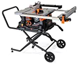 WEN 3720 15A Jobsite Table Saw with Rolling Stand, 10'