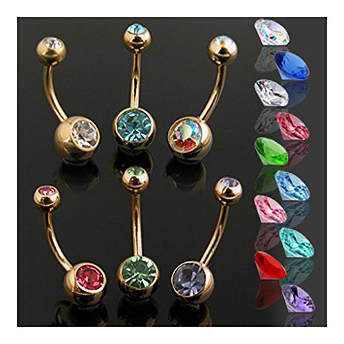 {Green}Gold Plated 2 Press Fit Gem Navel Belly Button Ring - 14GA - 3/8