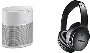 Bose Home Speaker 300, with Amazon Alexa Built-in, Silver & QuietComfort 35 II Wireless Bluetooth Headphones, Noise-Cancelling, with Alexa Voice Control - Black