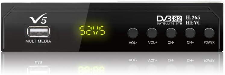 Vmade - Receptor satélite V5 Full HD DVB-S/S2 para monitor de TV o LCD, sintonizador digital, decodificador, soporte USB PVR, EPG completo en 7 días, ...