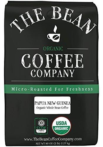 The Bean Coffee Company, Papa New Guinea Organic Whole Bean Coffee, 5-Pound Bags by The Bean Coffee Company