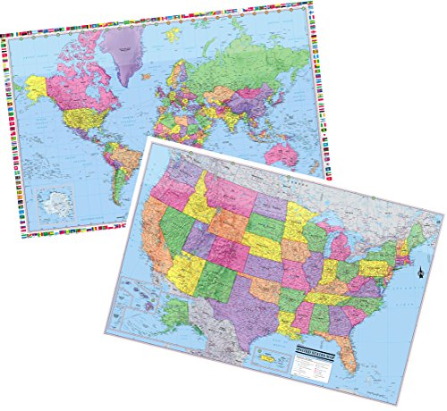 Laminated Rolled Map - Cool Owl Maps United States & World 3D Wall Maps - 36