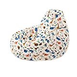 Flymall Kids Stuffed Cartoon Storage Bean Bag Chair-100% high-Density,Cotton Canvas Bonded with Durable Nylon (Zoo)