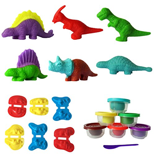 Dinosaur Clay - SUPRBIRD Kids Dough Dinosaur Playset Toys DIY Clay and Molds Set - Includes 6 Tubs of Play Doh Modelling Compound