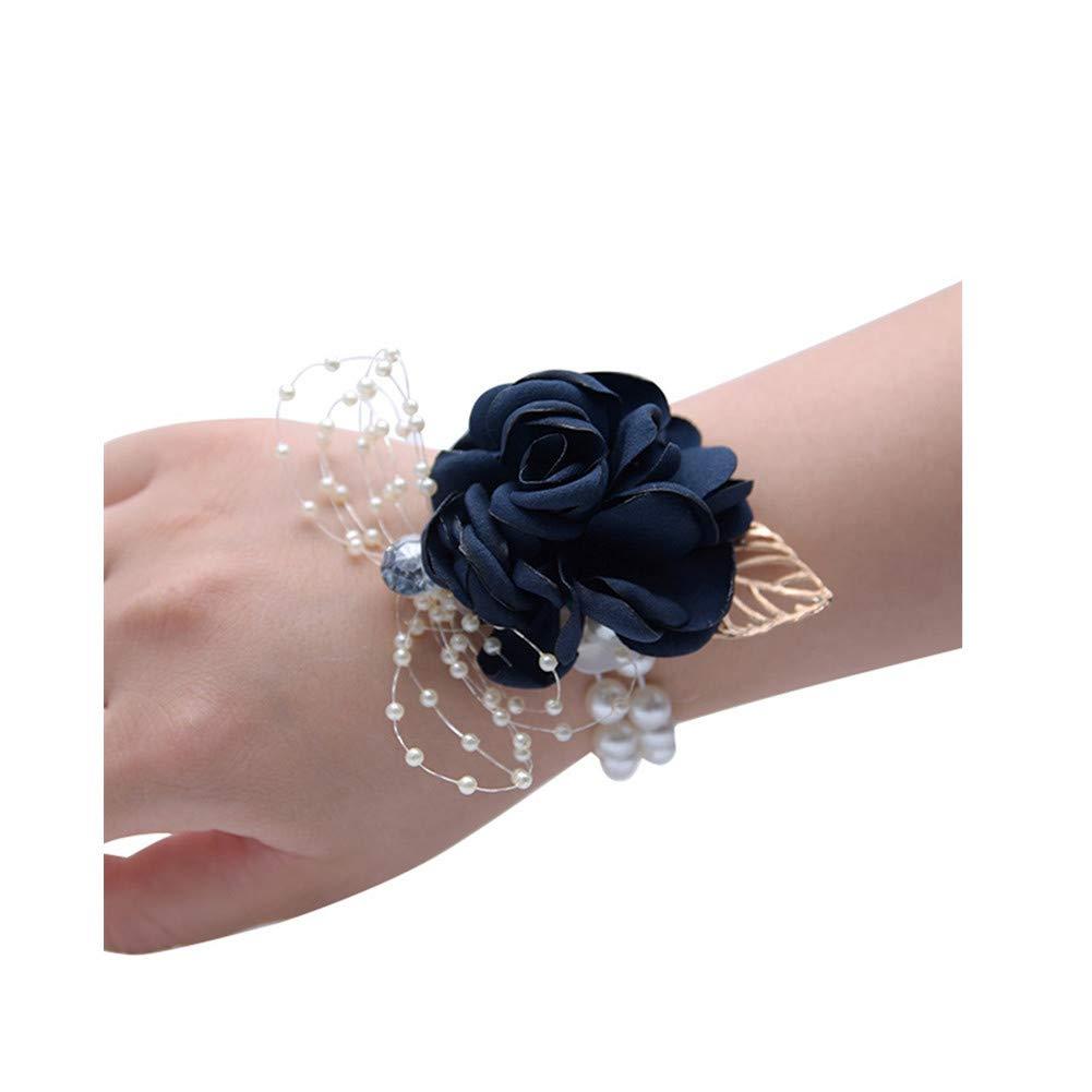 Zedo Hochzeitsbedarf Handarbeit Blumen Armband Handblume Hochzeit Party Tuch Rose Handgelenk Blume 9 7cm Champagne Powder