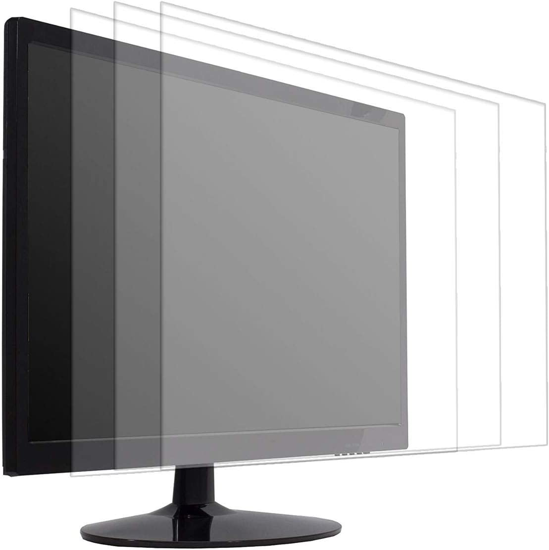 20 Inch Anti Glare Screen Protector Fit Diagonal 20 Inch Desktop with 16:9 Widescreen Monitor, Reduce Glare Reflection and Eyes Strain, Fingerprint-Resist (17 7/16 x 9 13/16 Inch)-3Pcs