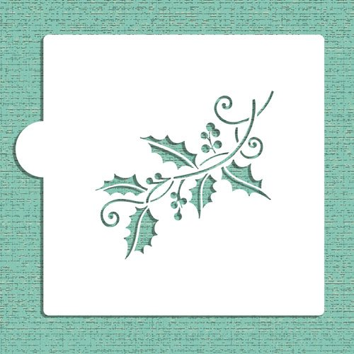 Holly Spray Cookie and Craft Stencil CM043 by Designer Stencils by Designer Stencils