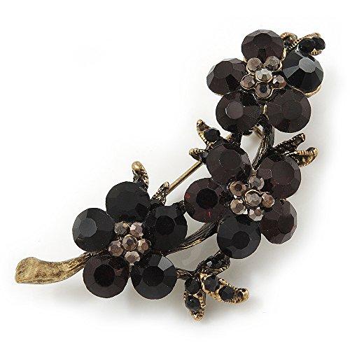 Swarovski Crystal Floral Brooch (Antique Gold & Black) - 5.5cm Length ()