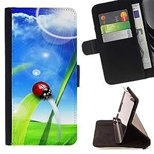 BullDog Case - FOR/Samsung ALPHA G850 / - / Ladybug Sun /- Monedero de cuero de la PU Llevar cubierta de la caja con el ID Credit Card Slots Flip funda de cuer