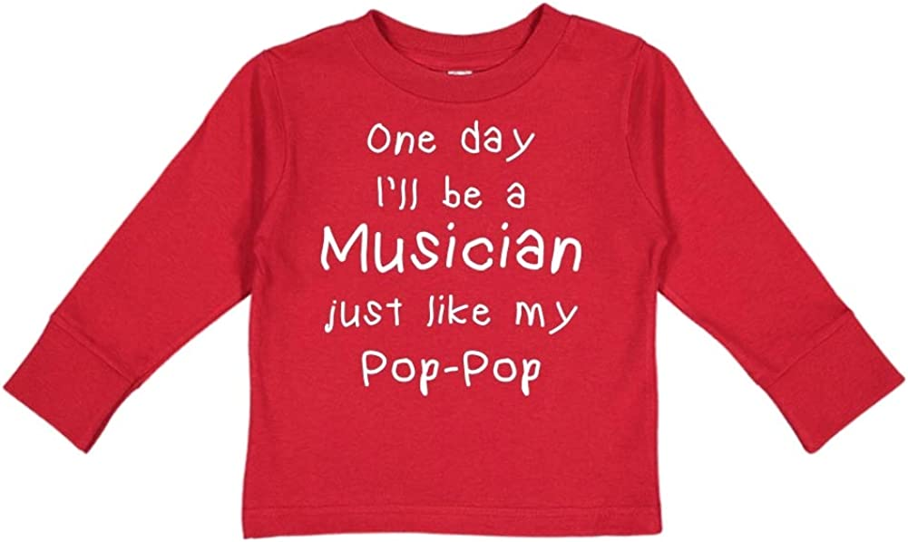 Toddler//Kids Long Sleeve T-Shirt One Day Ill Be A Musician Just Like My Pop-Pop