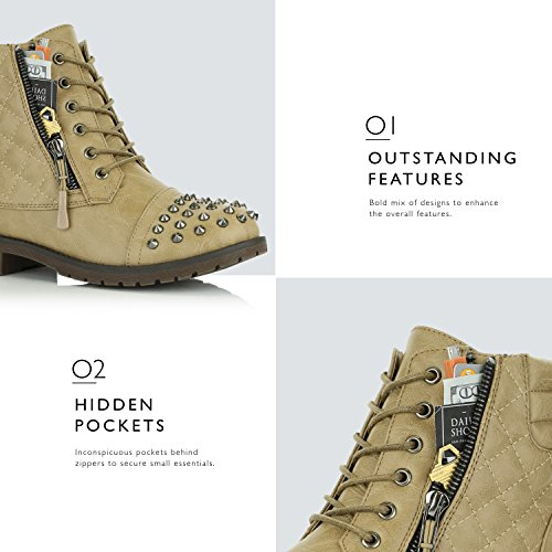 Exclusive Punky Dailyshoes Card Beige Military Pocket Boots Women's Combat Up Credit Ankle Quilted Buckle Hiking High Lace SSfOPTZ4