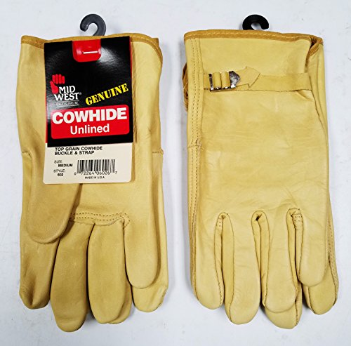 Cowhide Buckle (2 Pairs Mid West Top Grain Cowhide Buckle & Strap Leather Gloves, Size-Medium, Made in)