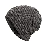 Hats for Women Men, Fashion Warm Baggy Weave Crochet Winter Wool Knit Ski Beanie Hat Skull Caps Grey