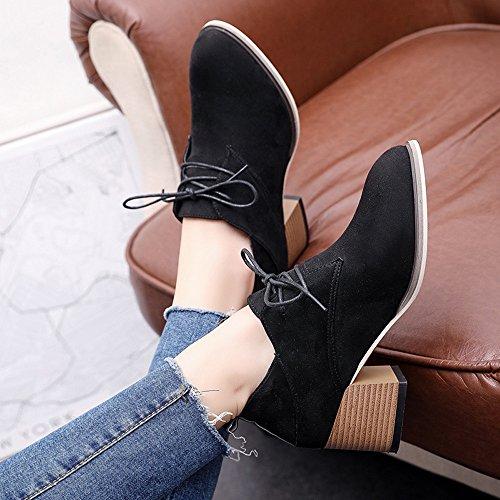 Riding Women Winter Shoes Chukka Lolittas Ankle Heeled Cap Desert Steel Suede Walking Boots Insoles Zipper Black Toe High Block XtCYw