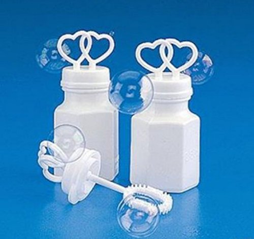 100 DOUBLE HEART BOTTLES BUBBLE BUBBLES WEDDING PARTY FAVORS BY DISCOUNT PARTY AND ()