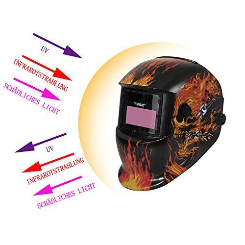 Yorbay Soldadores máscara de oscurecimiento automático de solar con 5 lentes de repuesto (fuego cráneo): Amazon.es: Industria, empresas y ciencia