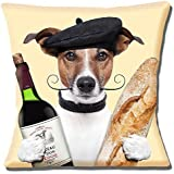 Tan White Jack Russell Moustache Beret French Baguette Wine Photo Print - 16 (40cm) Pillow Cushion Cover by Cushions Corner