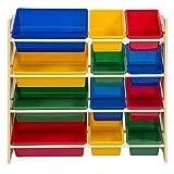 Colorful Toy Storage Bin Organizer Kids Storage Box w/ 4 Shelf for Children Playroom