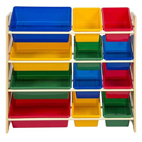 Colorful Toy Storage Bin Organizer Kids Storage Box w/ 4 Shelf for Children Playroom by FDInspiration