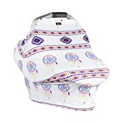 Baby Car Seat Cover Canopy Dreamcatcher- Very Breathable, Soft, Silky and Stretchy - Snuggly and Warm - Multi-Use Nursing Cover for Breastfeeding, Infinity Scarf, Fits Most Shopping Cart and Strollers
