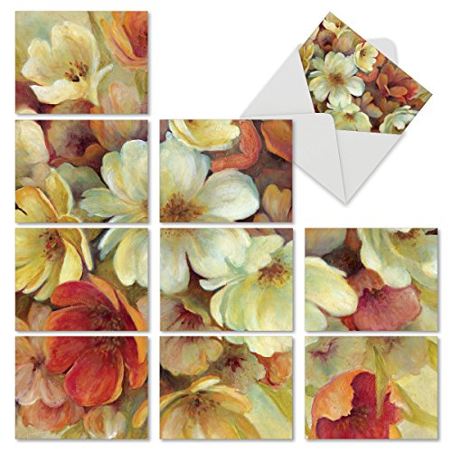 10 Carol Arrangements (Spice Blooms: 10 Assorted Blank All-Occasion Note Cards Featuring a Larger Watercolor Painting of Autumnal Colored Flowers That is Cropped into Smaller Images, w/White Envelopes. M6628OCB)