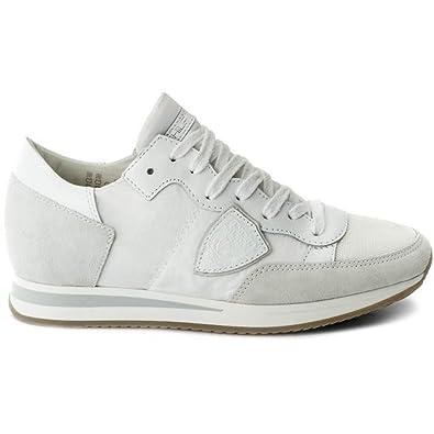 Philippe Model Scarpa Donna Sneaker Mod Tropez in Pelle e Tela Colore  Bianco TRLD 1101 2b2a00cf2b4