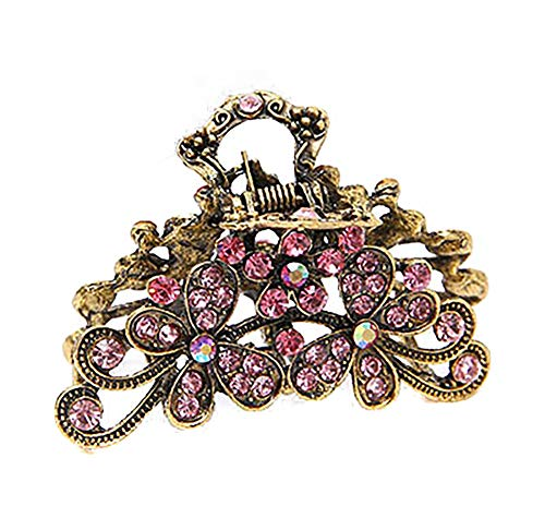 Retro Flowers Hair Claw Clip for Women Lady Vintage Alloy Rhinestone Hair Jaw Clips Hairpin Fancy Hair Barrette Clamp (Pink) (Snap Pink Rhinestones)