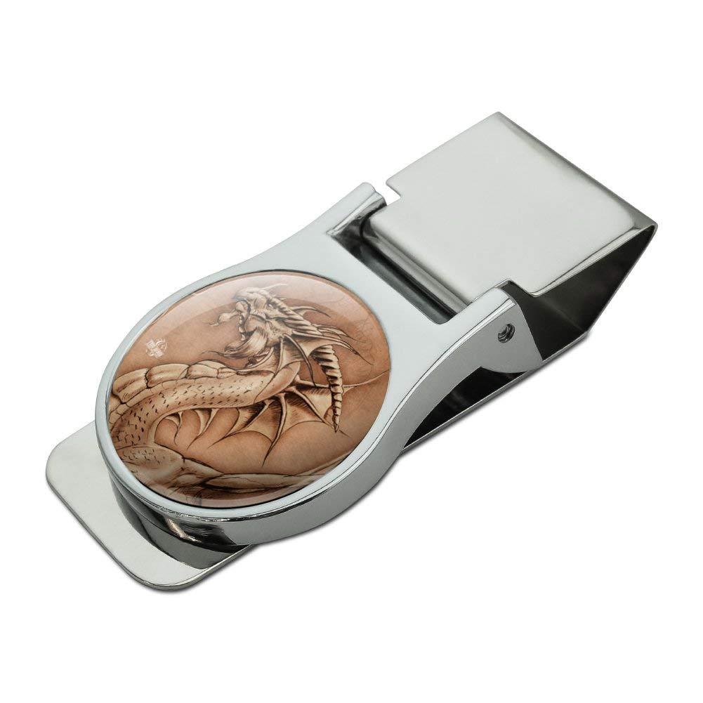 Dragon Parchment Fantasy Satin Chrome Plated Metal Money Clip