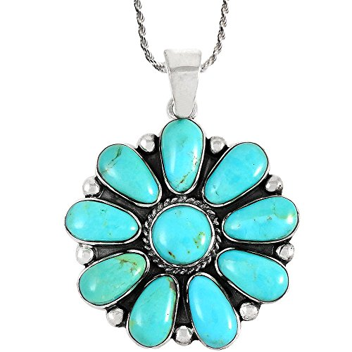 Turquoise Pendant Necklace Sterling Silver 925 & Genuine Turquoise 20