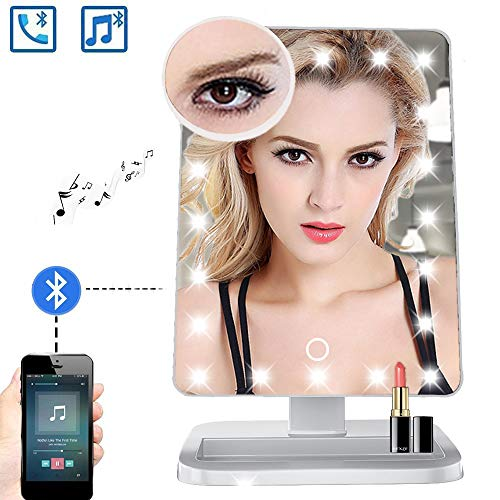 FENCHILIN Bluetooth Mirror 20 LED Lights Makeup Mirror with USB Charger Cable,Wireless Audio Speaker & Removable 10X Magnifier,180 Rotation Vanity Mirror with Lights -