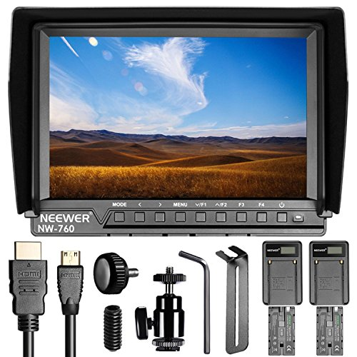 Neewer NW760 Ultra HD 7 Inches 1920x1200 IPS Screen Camera Field Monitor with 2 Packs F550 Replacement Battery and 2 Pieces USB Battery Charger for Sony Canon Nikon Olympus Pentax Panasonic by Neewer