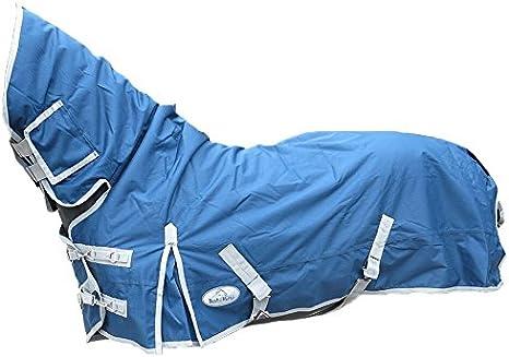 Best On Horse Boh - Manta impermeable para caballo (200 g, peso medio 600D, cuello fijo, resistente al agua), Ecuestre, azul marino, UK 6'6 / EU 140cm / 78