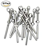 TABODD 50Pcs Swage Threaded Tensioner fit 1/8'' Cable Railings Swage Threaded StudTension End Fitting Terminal T316 Stainless Steel