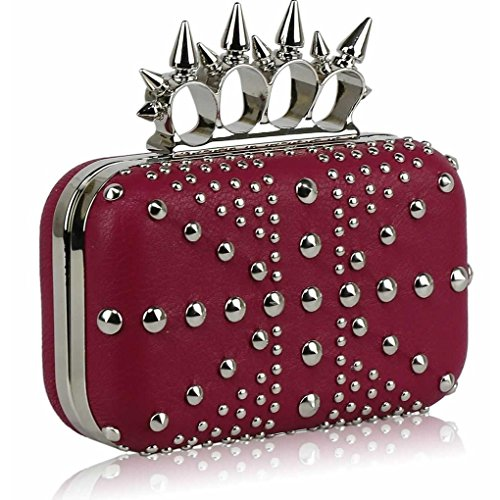 For Clutch Handbags STUDDED Studded PINK CLUTCH LeahWard Evening Crown Diamante Prom Purse Jack Union Women's Wedding Ax1xYqp