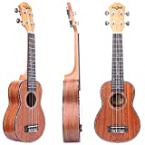 FZONE 21 Inch Sapele Soprano Ukulele With Aquila Strings, OX Bone Saddle, 15 Frets