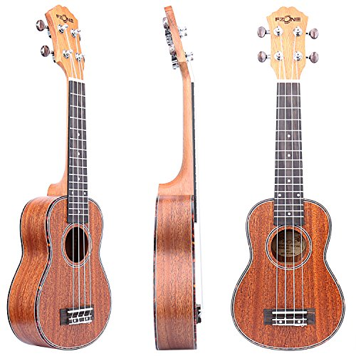 FZONE 21 Inch Mahogany Soprano Ukulele with Aquila Strings, Tortoise Style Binding, OX Bone Saddle