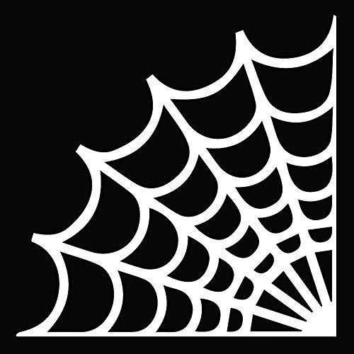 ANGDEST Halloween Spider Web (White) (Set of 2) Premium Waterproof Vinyl Decal Stickers for Laptop Phone Accessory Helmet Car Window Bumper Mug Tuber Cup Door Wall Decoration]()