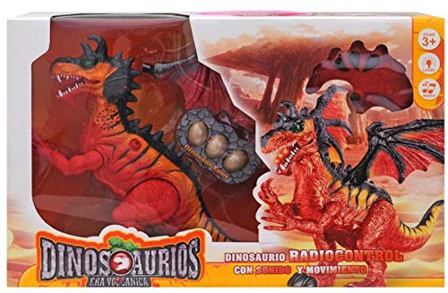 IndusBay® Infrared Remote Control R/C Dinosaur Robot T-rex with Walking, Roaring Egg Laying Sound Action Dragon Toy Jurassic Park Theme - Red