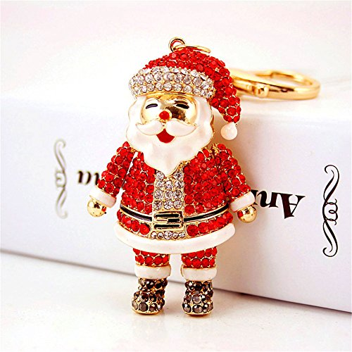Santa Claus Fashion Crystal Rhinestone Pendant Charm Purse Bag Key Chain Christmas Gift (#1)