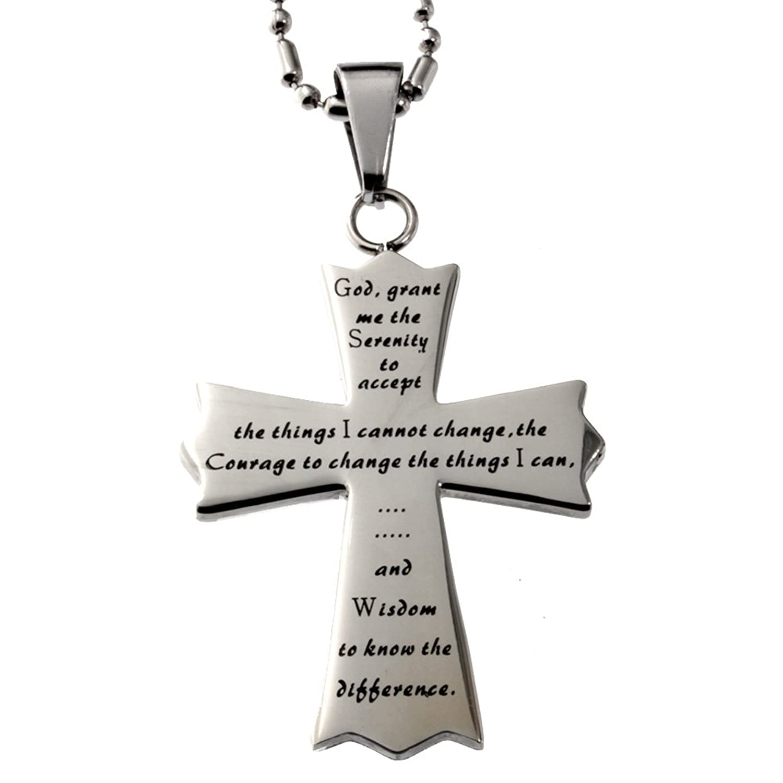 The serenity prayer cross pendant god grant me the serenity to the serenity prayer cross pendant god grant me the serenity to amazon jewellery aloadofball Choice Image