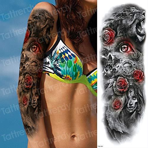 Brazo Completo Tatuajes temporales Suger cráneo Rosa Reloj de ...