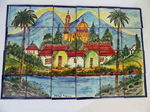 - TALAVERA MOSAIC MURAL mexican tile backsplash, small traditional village, town